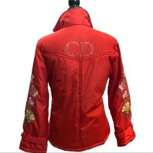 Christian Dior Auth 90s Floral CD Logo Puffer Coat